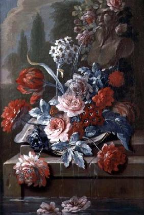 Still Life of Flowers by a Fountain  (pair of 121413)