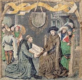The Presentation of a Book to a Lord (vellum)