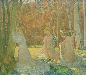 Figures in Spring Landscape