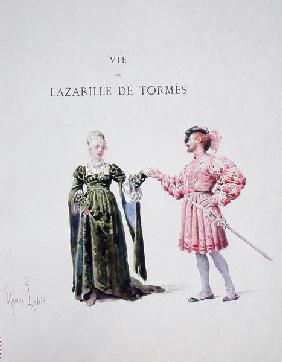 Lazarillo de Tormes with a Woman, from ''La Vida de Lazarillo de Tormes'', 1886 (w/c on paper)