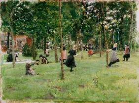 Playing children in the park. 1882