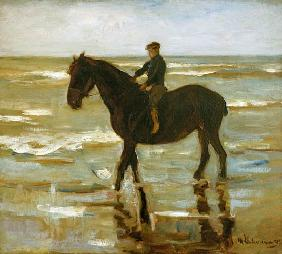 a riding boy on the beach