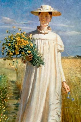 Anna Ancher returning from Flower Picking