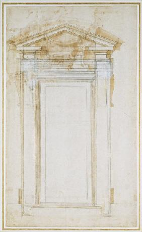 Study of a window with triangular gable, c.1546 (black chalk, wash, pen & ink on paper)