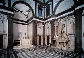 View of the interior showing the Tomb of Giuliano de' Medici (1492-1519) designed 1520-34 (photo)