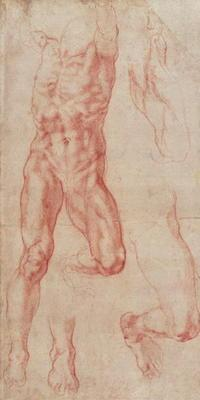 W.13r Study of a male nude, stretching upwards (chalk on paper)
