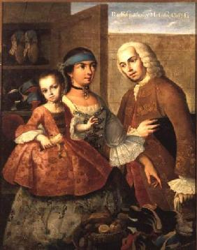 A Spaniard and his Mexican Indian Wife and their Child, from a series on mixed race marriages in Mex