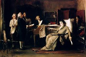 Mozart directing his Requiem on his deathbed