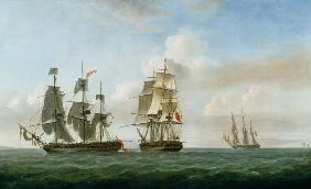 The Spanish frigate 'La Fama' having outsailed the 'Medusa' engages with and surrenders to H.M.S. 'L