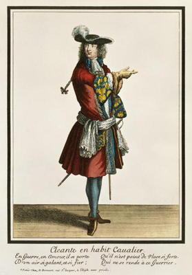 Cleante Dressed as a Cavalier, fashion plate, c.1695 (engraving)