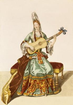 Lady of Quality Playing the Guitar, fashion plate, c.1695 (engraving)