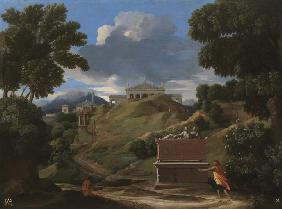 Landscape with Antique Tomb and Two Figures