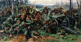 The Russian Cavalry Charging the German Artillery in 1915 (oil on canvas)