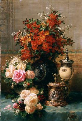 Still Life Of Roses And Other Flowers