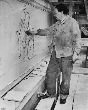 Diego Rivera working Detroit Industry Murals