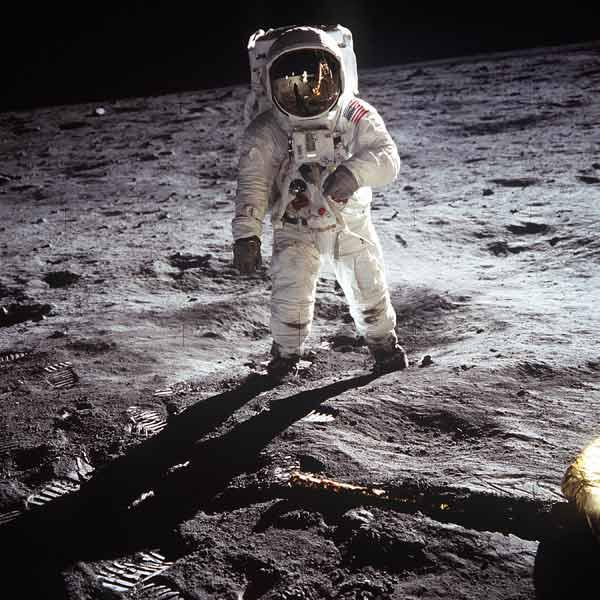 1st steps of human on Moon : American Astronaut Edwin Buzz Aldrinwalking on the moon during Apollo 1