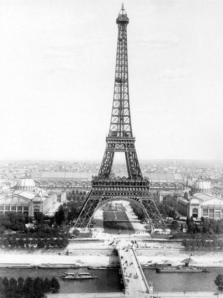 end of the building of the Eiffel Tower in Paris for World Fair in Paris 1889 , here photographed at