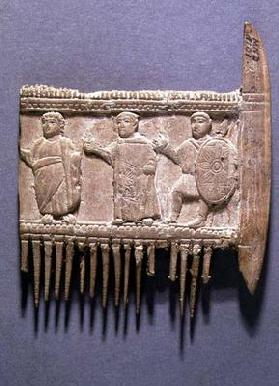 Fragment of a hair comb with relief depicting a religious ceremony, Greek (ivory) (for back see also