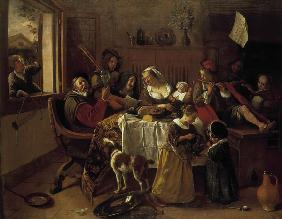 Jan Steen, As the aged sang... / 1668.