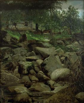 Menzel / Mountain Stream with Hut / 1871