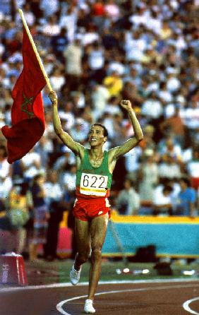 Olympic Games in Los Angeles: Moroccan athlet Said Aouita win the 5000m