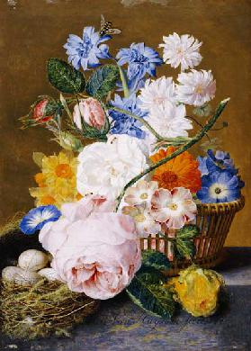 Roses, Morning Glory, Narcissi, Aster And Other Flowers In A Basket With Eggs In A Nest On A Marble