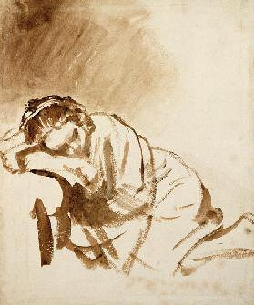 A Young Woman Sleeping (Hendrijke Stoffels) c.1654 (brush & brown wash on paper)