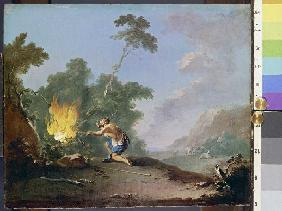 Moses in front of the burning Thornbush