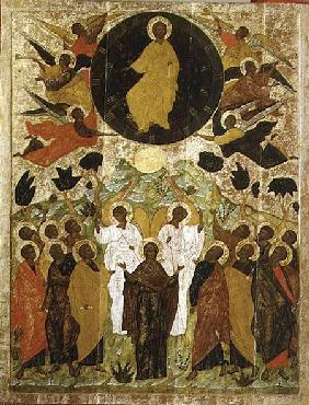 The Ascension of Our Lord, Russian icon from the Malo-Kirillov Monastery, Novgorod School