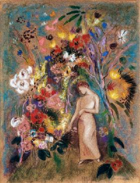 Female figure into flowers