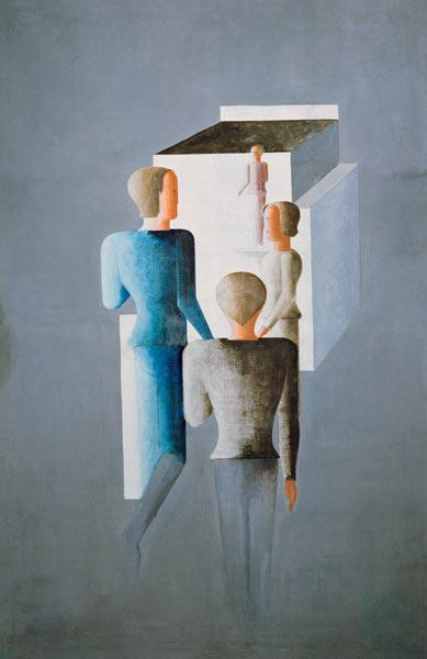 Four figures and a cube