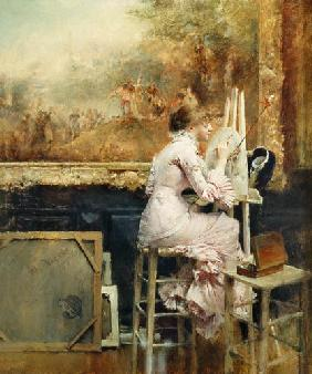 Pascal A.J. Dagnan-Bouveret - Young Watercolourist in the Louvre
