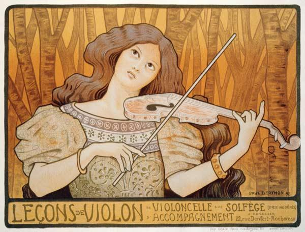 Reproduction of a poster advertising 'Violin Lessons', Rue Denfert-Rochereau, Paris, 1898 (colour li