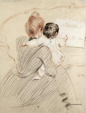 Madame Paul Helleu and her Daughter Paulette, 1905 (coloured pencil on paper)