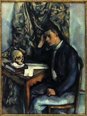 Young man with skull