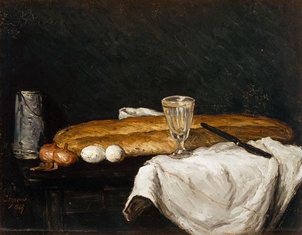 Still life w.bread and eggs