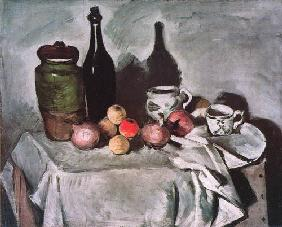 Still life with fruits and dishes