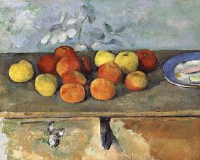 Still life with apples and biscuits