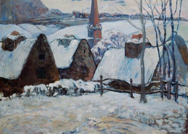 Breton village in the snow