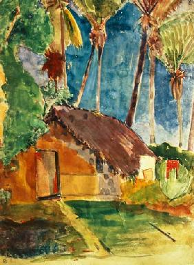 Thatched Hut Under Palms (illustration from Noa Noa)
