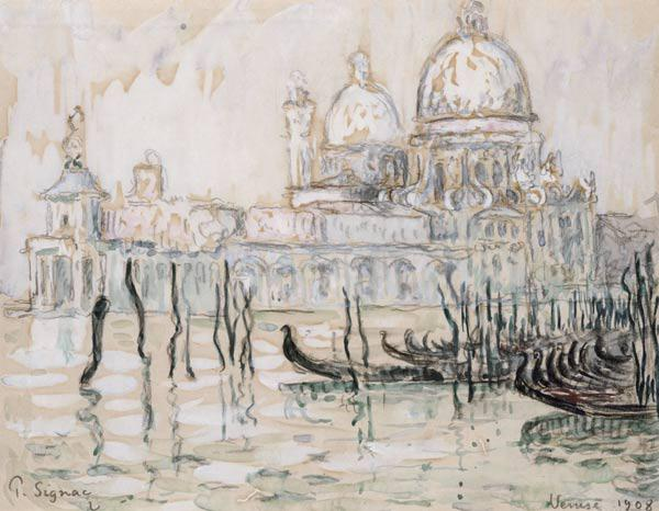 Venice or, The Gondolas, 1908 (black chalk and w/c on paper)