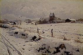 Winter landscape with village church at Holmstrup.