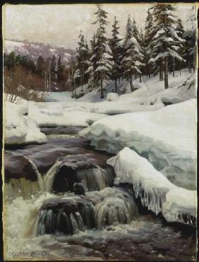Winter landscape with mountain stream (Lillehammer)