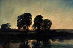 River Landscape at Sunset