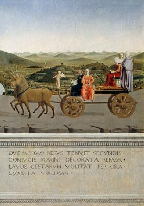 Triumph car pulled by two unicorns. Backside of Federico da Montefeltro portrait