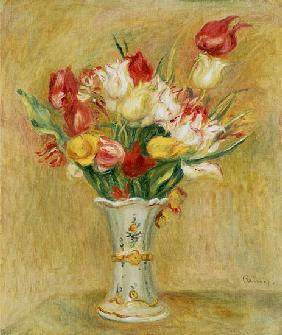 Bunch of Tulips in a White Vase