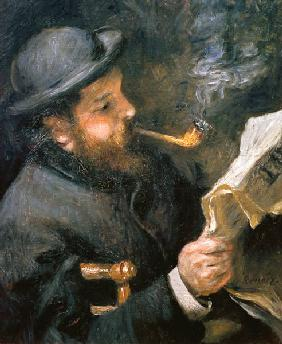Claude Monet (1840-1926) reading a newspaper