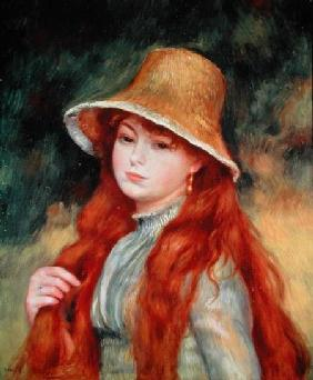 Young girl with long hair, or Young girl in a straw hat