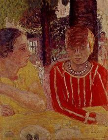Pure Natanson and Marthe Bonnard in a red dress.