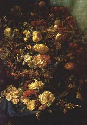 Coninck, Pierre-Louis de : Still Life of Flowers on a...